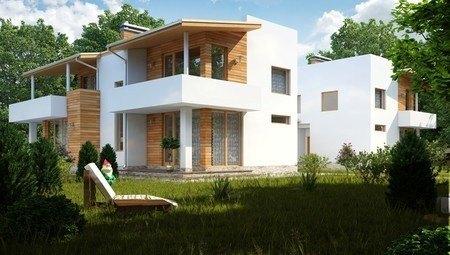 Проект современного коттеджа на две семьи с плоской крышей