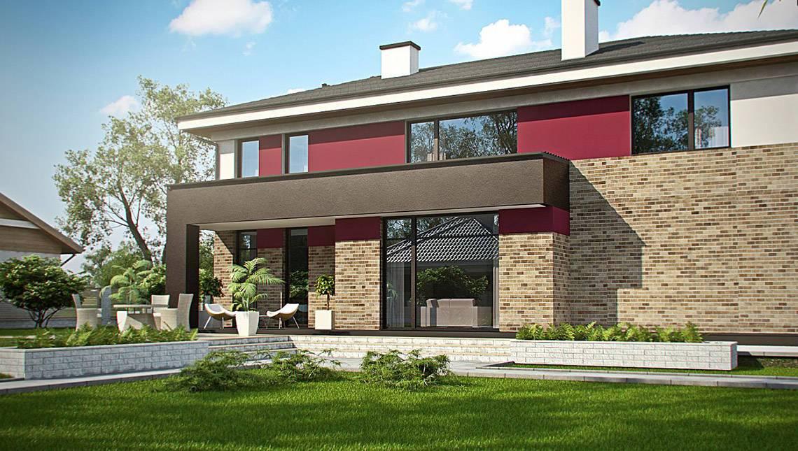 Современный проект двухэтажного дома с гаражом на две машины и сауной