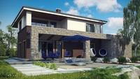 Проект классического двухэтажного дома с современными деталями