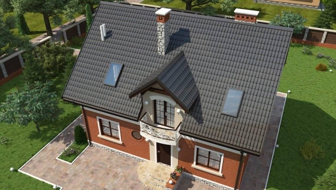 Проект классического коттеджа с мансардой и красивыми балконами