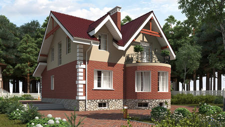 Проект коттеджа с мансардой и цокольным этажом для узкого участка