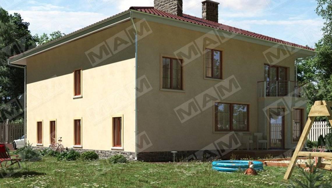 Двухэтажная вилла с четырехскатной крышей