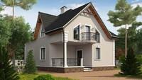 Одноэтажный коттедж с мансардой и красивыми балконами