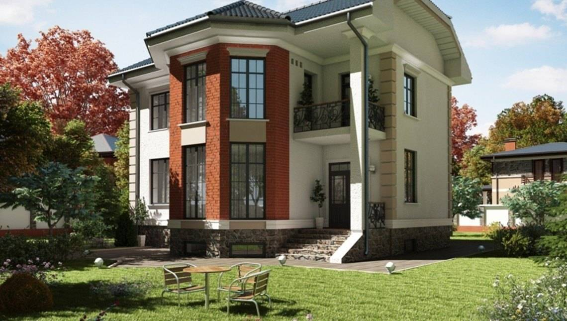 Красивый яркий загородный двухэтажный особняк