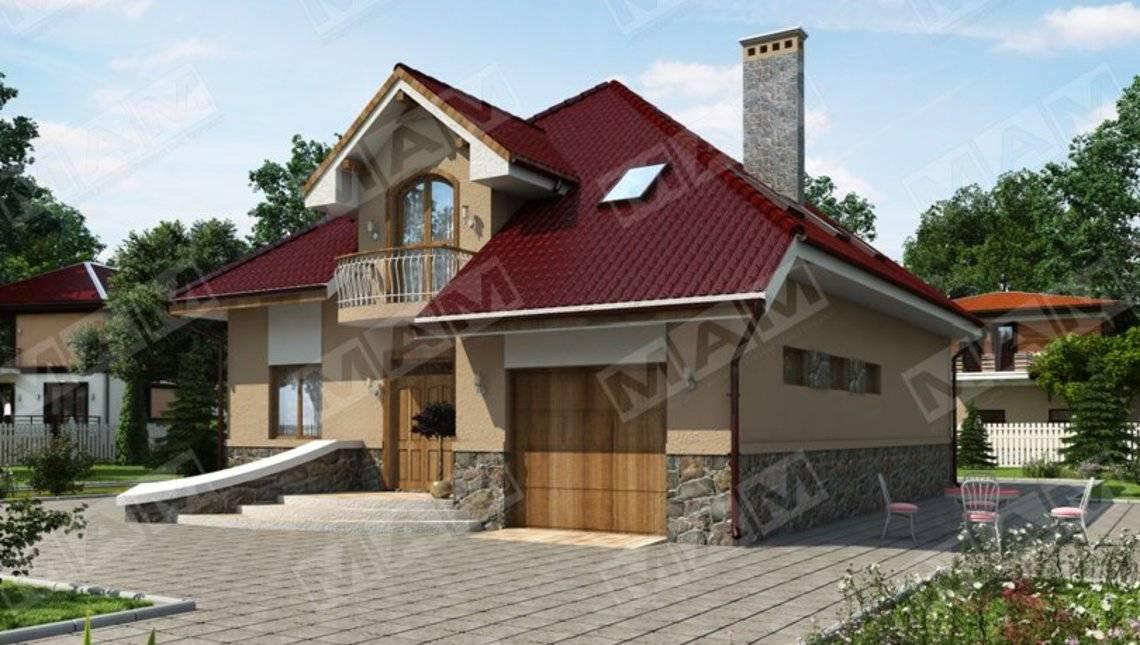Классический стильный загородный коттедж с мансардой и гаражом