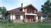 Проект классического дома с красивыми окнами и мансардным этажом