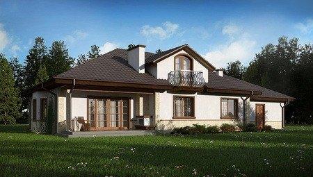 Проект большого красивого дома с гаражом на 2 машины, мансардой и балконом