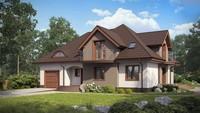 Проект классического большого дома с гаражом и балконами