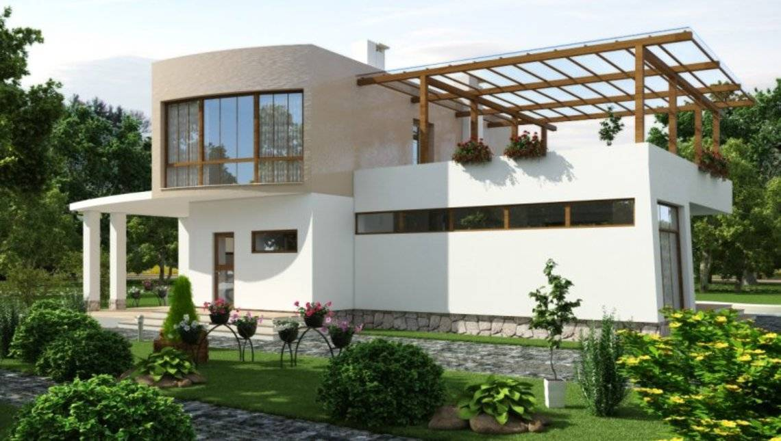 Современный стильный дом хай тек с огромной террасой