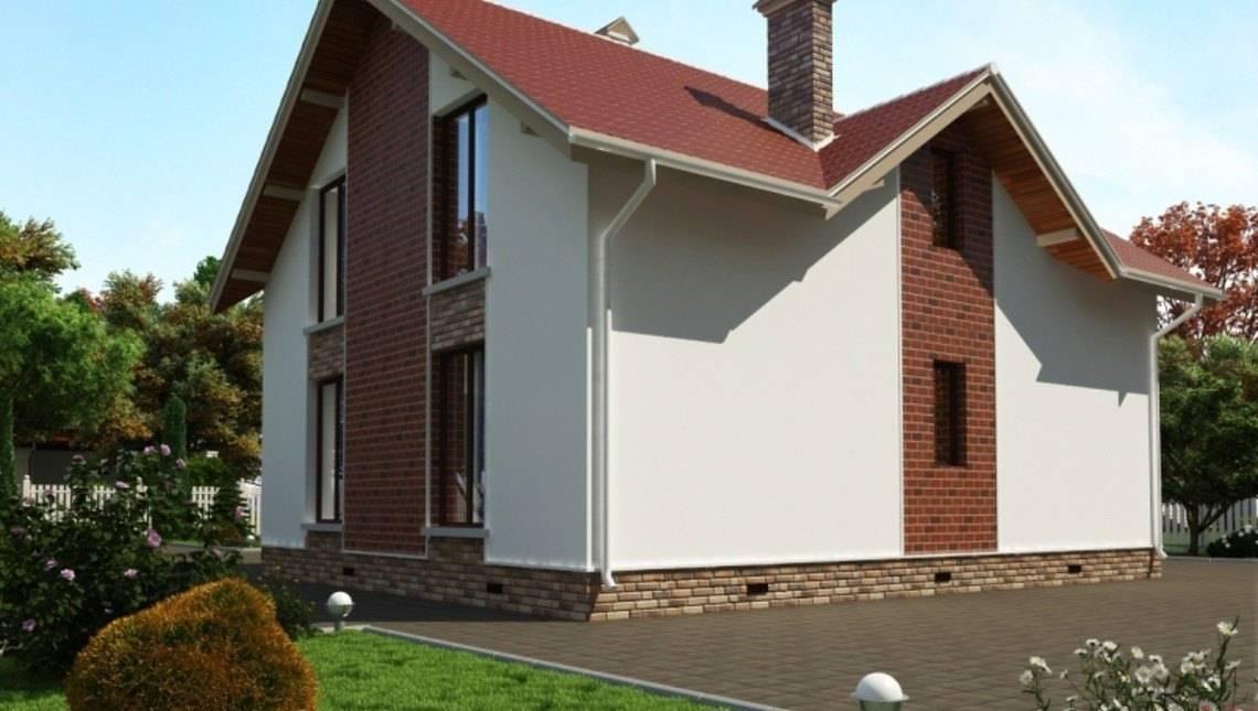 Большой дом с мансардой и фронтальным гаражом