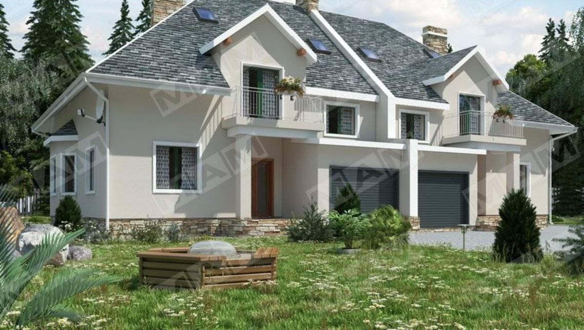 Проект комфортного просторного дома на две семьи с гаражом