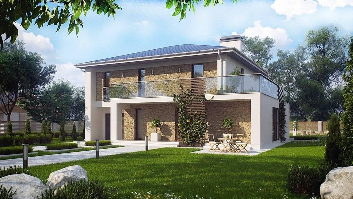 Проект двухэтажного дома с большими окнами