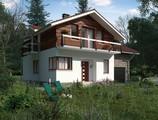 Проект дома с мансардой и балконом над входом