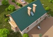Проект каркасного коттеджа с гаражом