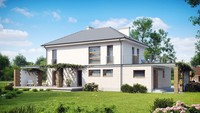 Проект двухэтажного загородного дома с большой террасой