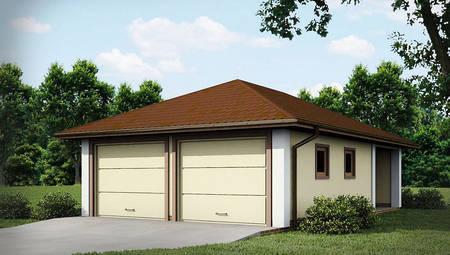 Проект одноэтажного гаража для двух машин