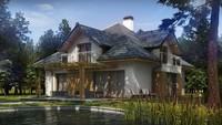 Проект дома с красивыми окнами и гаражом для 2 машин