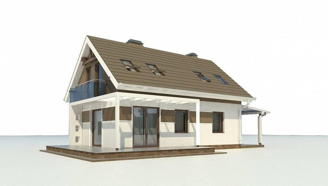 Проект небольшого аккуратного загородного коттеджа с мансардой