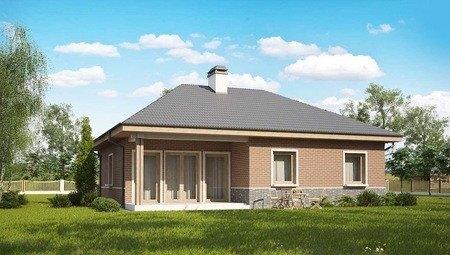 Проект одноэтажного дома по типу 4M250 с кирпичным фасадом