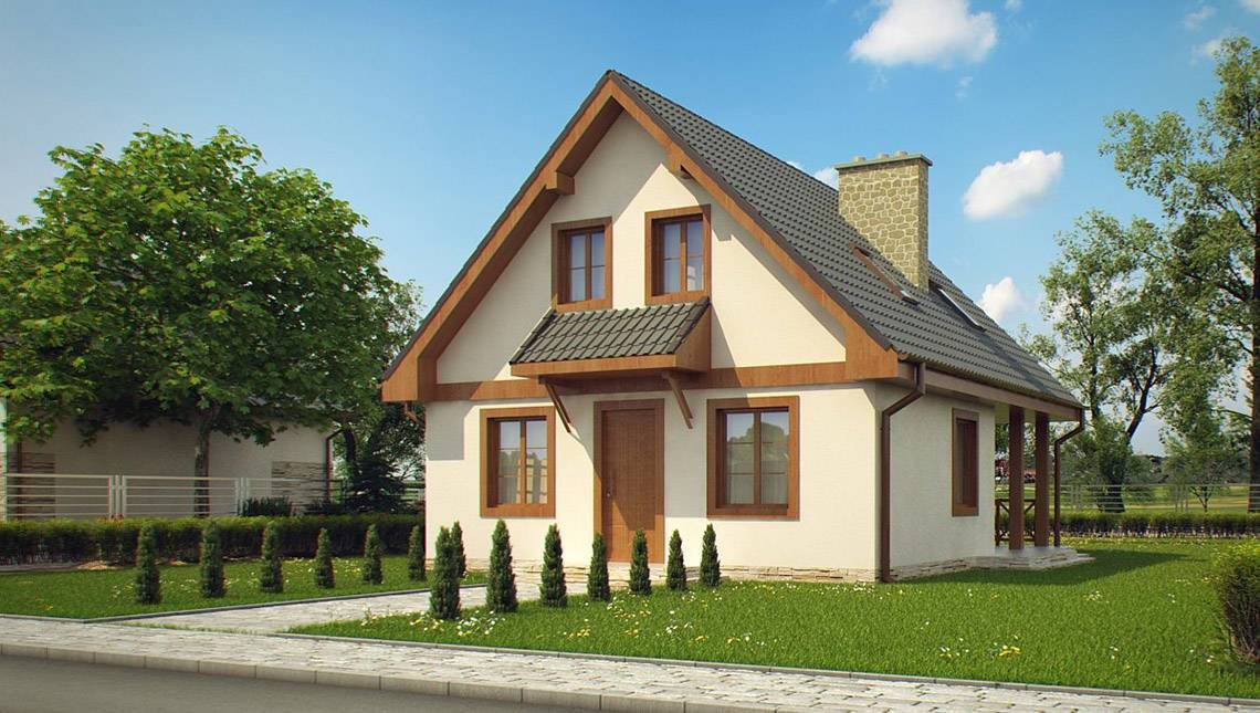 Проект дома с мансардой и внешним камином по типу 4M362