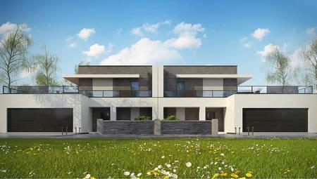 Современный стильный дом на две семьи с шикарными террасами