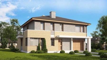 Популярный двухэтажный коттедж по типу 4M636 с кирпичным фасадом