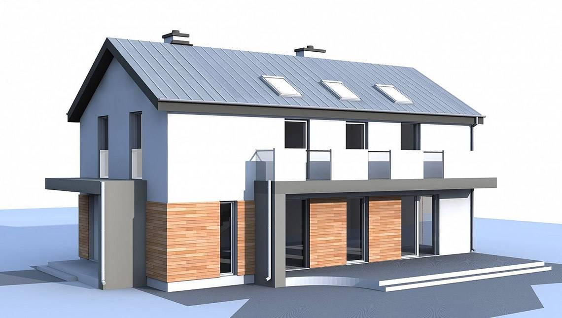Двухэтажный дом для узкого участка по типу 4M692 без гаража