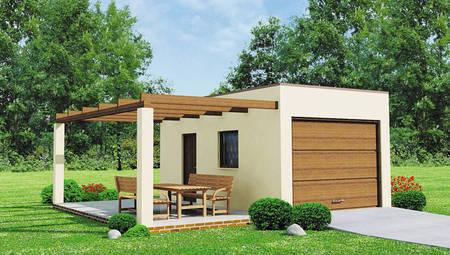 Проект гаража на одну машину с уютной террасой