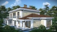 Проект удобного загородного коттеджа с гаражом для двух семей
