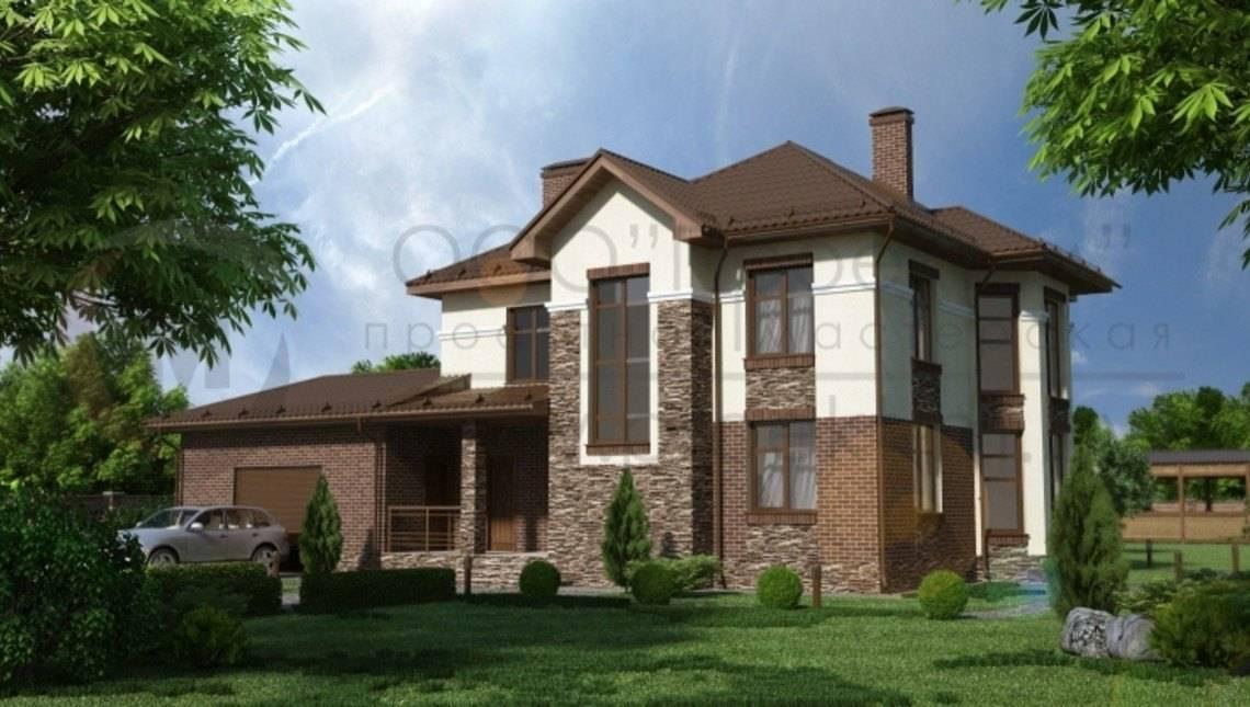Комфортный двухэтажный дом с фактурным фасадом