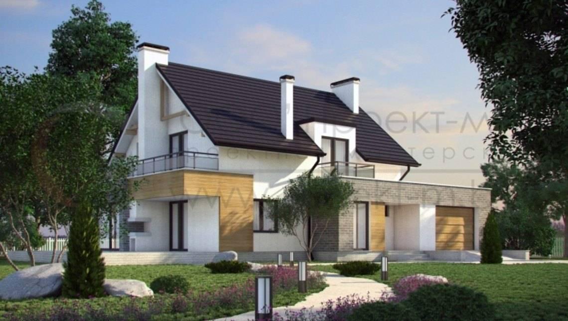 Дом с мансардой с современными элементами на фасаде