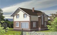 Архитектурный проект двухэтажного дома с оригинальным фасадом