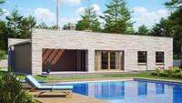 Проект одноэтажного дома с плоской крышей, со светлым функциональным интерьером и гаражом