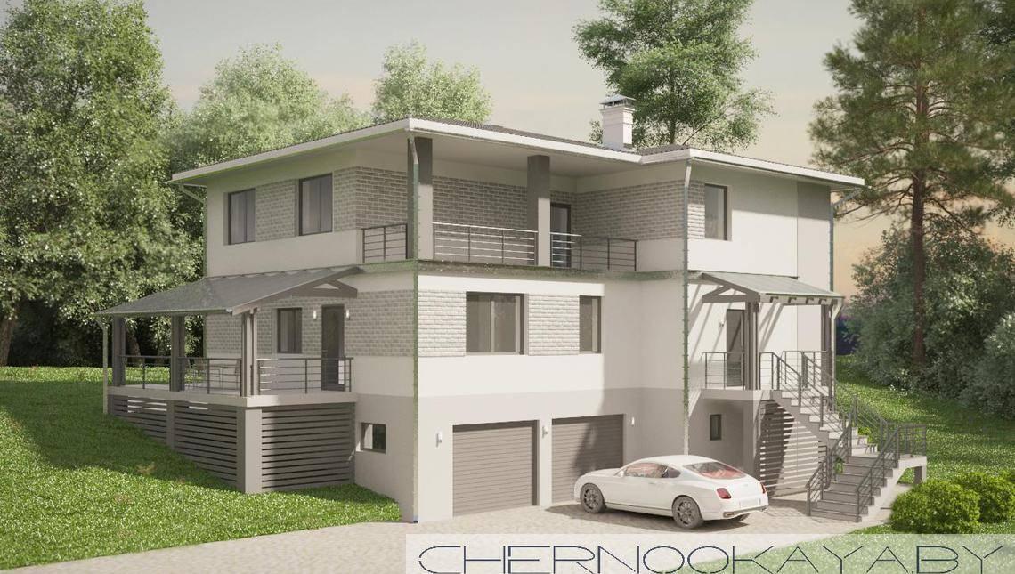 Проект большого трехэтажного дома с гаражом