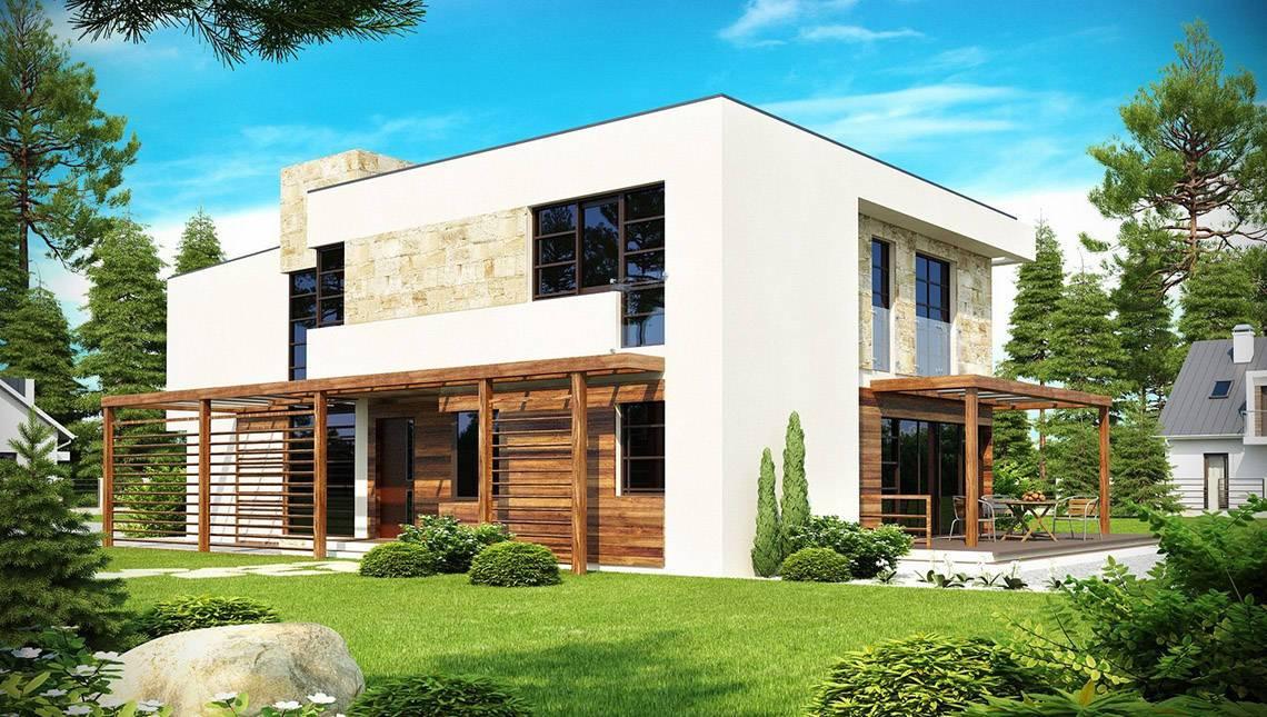 Проект двухэтажного коттеджа модерн с гаражом для двух автомобилей