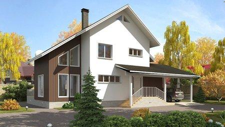 Проект дома с сауной, навесом для автомобиля и террасой