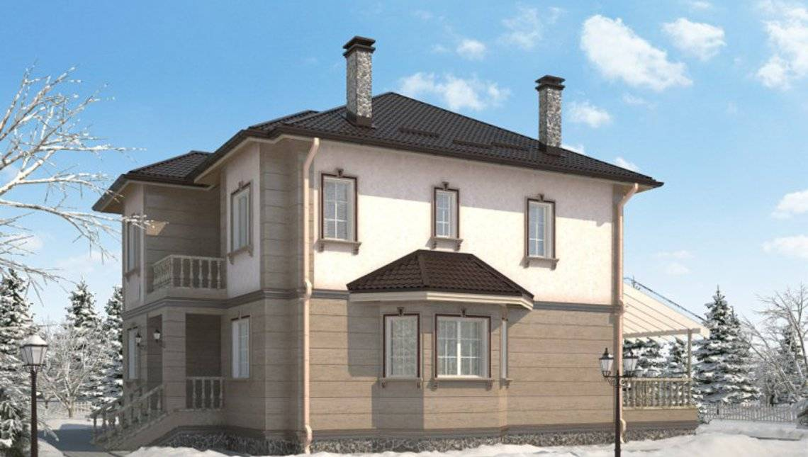 Проект двухэтажного классического особняка с гаражом для 1 авто