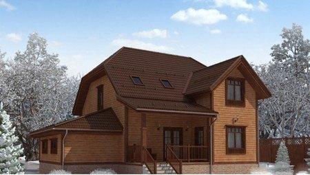 Проект стильного дома с деревянной отделкой фасада