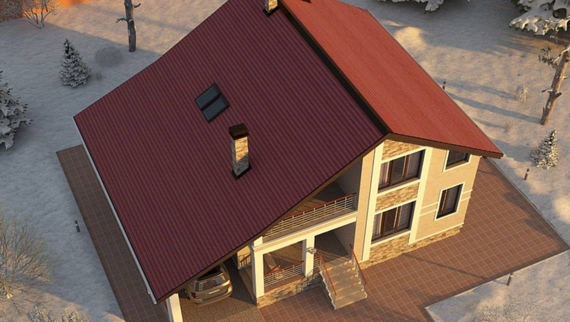 Проект загородного особняка с гаражом и зимним садом
