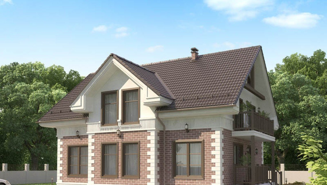 Проект классического мансардного дома с кирпичным фасадом