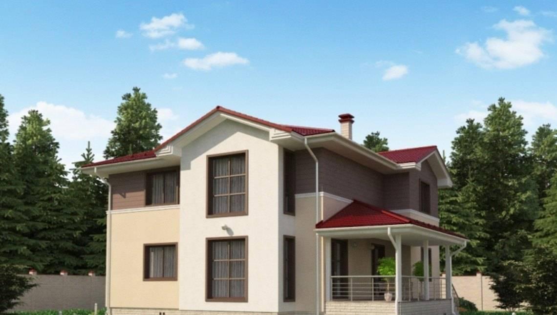 Проект жилого загородного дома с навесом для автомобиля