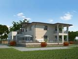Архитектурный проект двухэтажного современного дома для отдыха