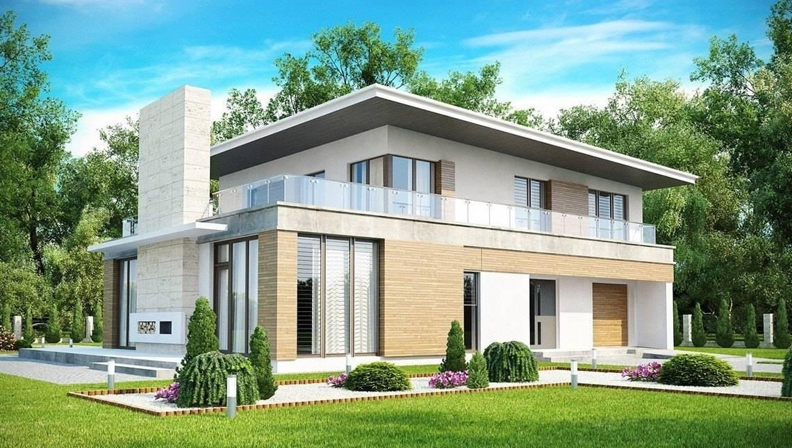 Проект современного стильного коттеджа с плоской крышей