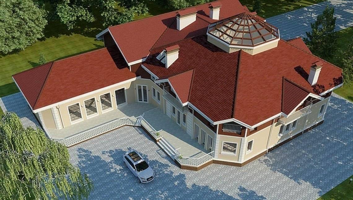 Архитектурный проект шикарного загородного большого особняка с цоколем