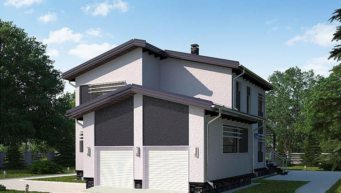 Архитектурный проект недорогого в строительстве 2х этажного дома