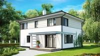 Проект двухэтажного дома с низкой крышей и гаражом для двух авто