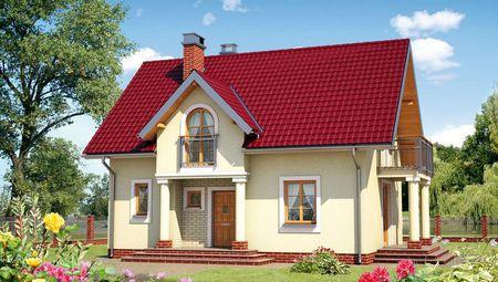 Компактный загородный домик с четырьмя спальнями и балконом