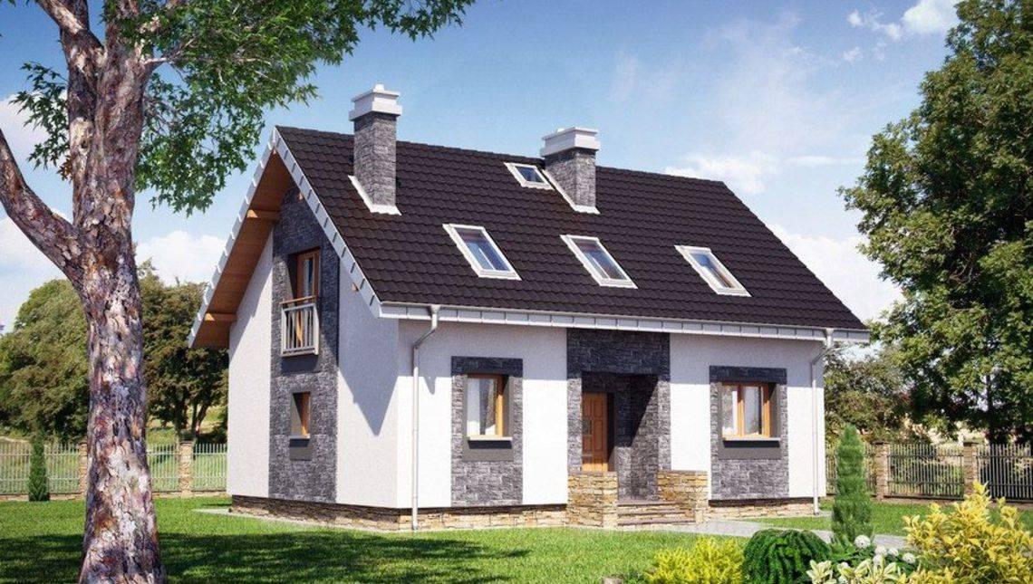 Архитектурный проект красивого загородного коттеджа с мансардой