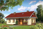 Архитектурный проект маленького дома с эркером и террасой