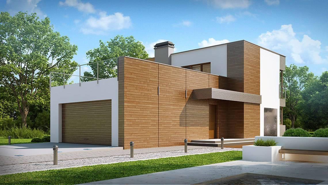 Проект двухэтажного дома модерн с террасой над гаражом